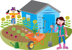 Woman gardener with shed and scarecrow.