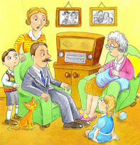 1940 family gathered around a wireless.