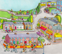 A busy town with lots of cyclists.