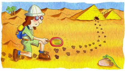 A girl explorer following clues to a pyramid.