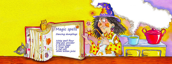 Winnie the witch and her spell book.