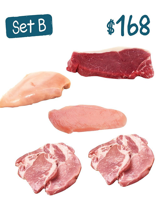 Set B. Danish Pork Collar x2, Australian Beef Sirloin x1, US Chicken Steak x 1
