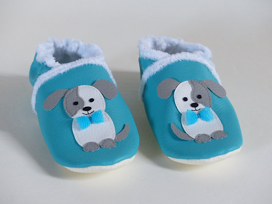 Chaussons Chiens Noeuds Papillon - Turquoise, Blanc, Gris