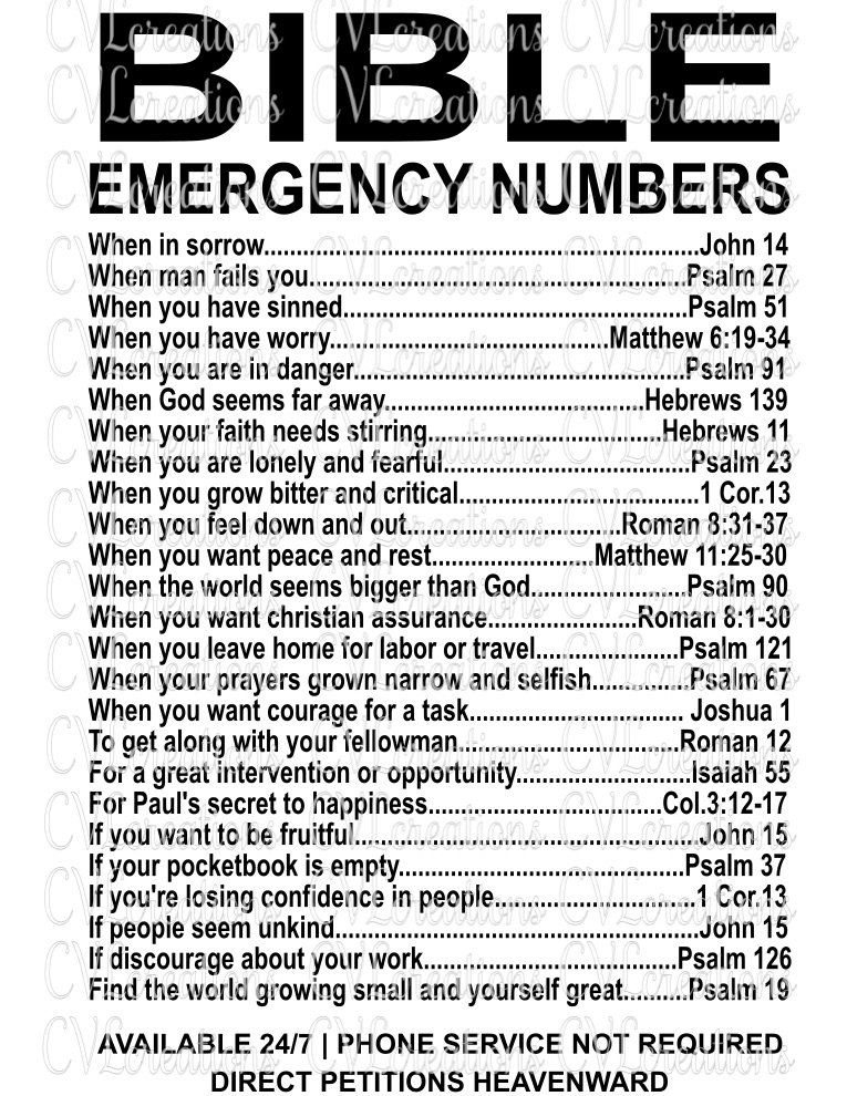 Bible Emergency Numbers Svg Png Dxf Cvlcreations
