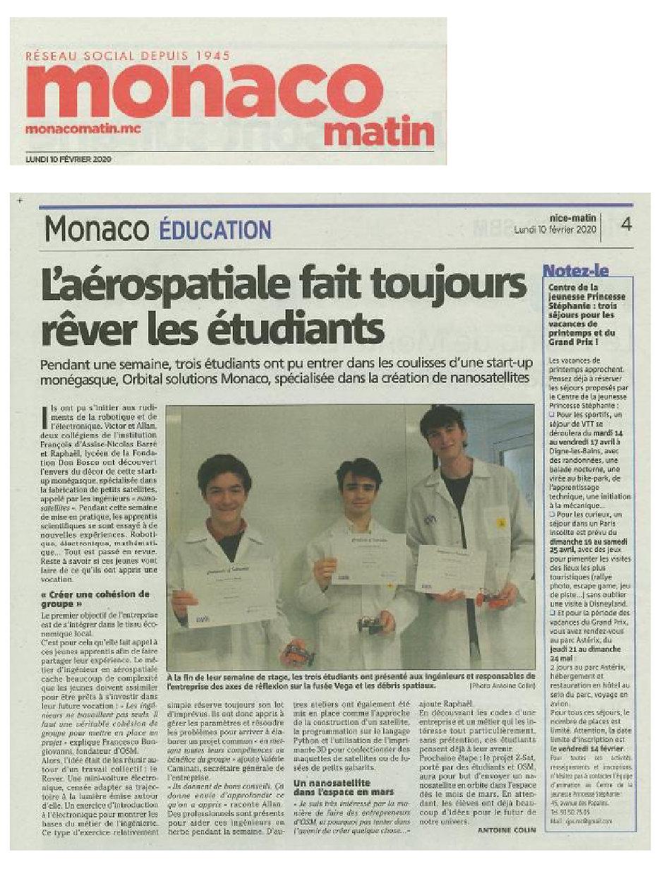 Jeune stagiaires chez OSM, Monaco-Matin
