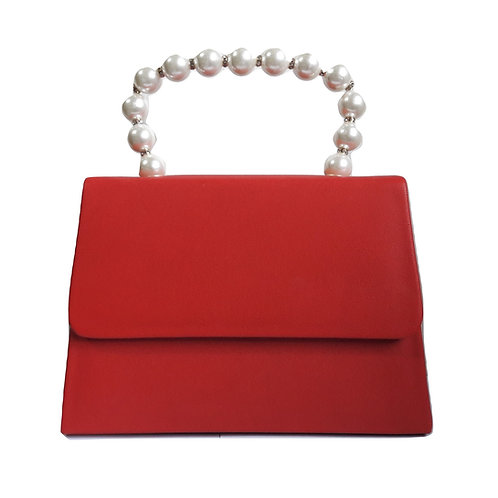 Borsa con manico in simil perle - Rosso