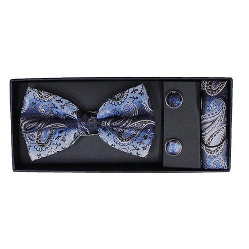 Coordinato uomo Papillon + Gemelli + Pochette - Fantasia damascato celeste accessori elegante cerimonia urban loop