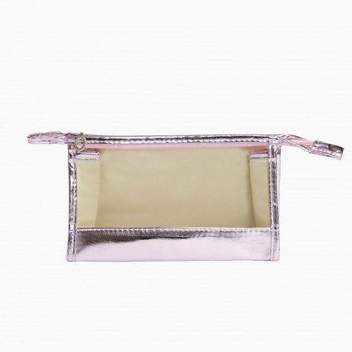 Make Up Bag - Clear Metallic Pink portatrucchi trucchi cosmetici borsetta beauty donna rosa specchio incluso urban loop