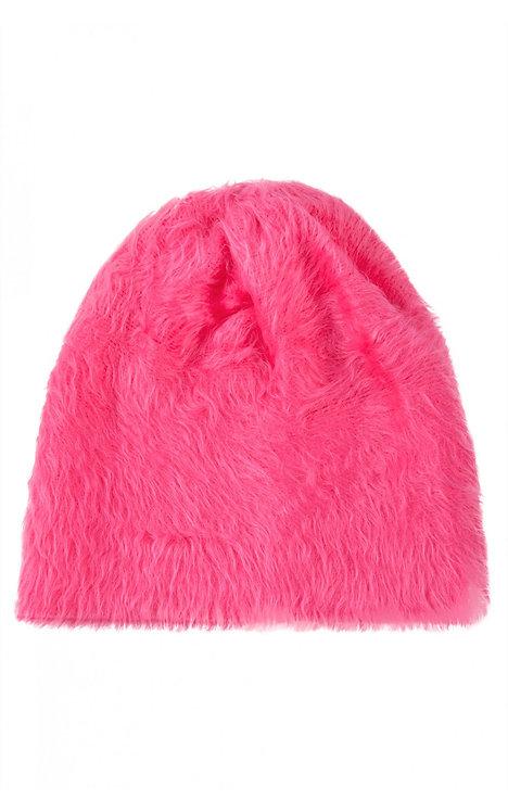 cappello invernale donna pelliccia ecopelliccia berretto beanie cuffia rosa fluo urbansc