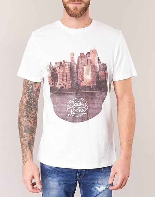 Jack & Jones - T-shirt uomo CASH ORIGINALS - Bianco MAGLIA manica corta mezza tshirt urban loop