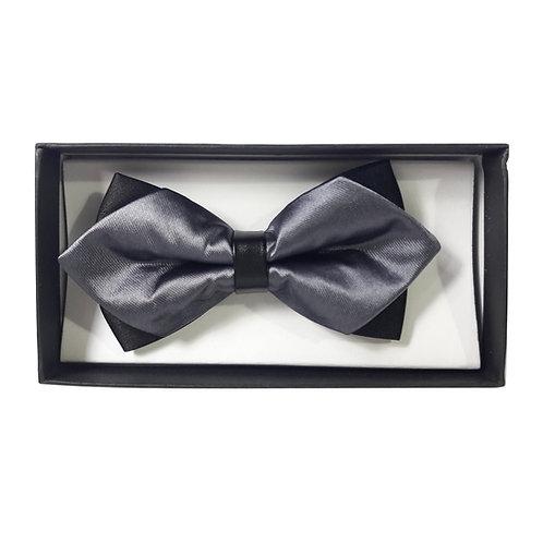 Papillon a punta di diamante pre-legato con scatola - Grigio/Nero classico cerimonia elegante uomo farfallino urban loop