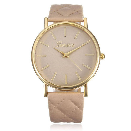 orologio donna polso trapuntato ecopelle rosa beige oro dorato fashion casual urbansc
