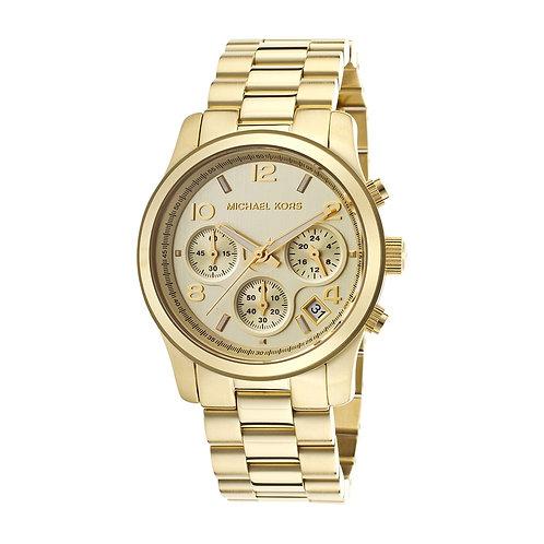 Michael Kors MK5055 RUNAWAY - Orologio donna in acciaio dorato con cronografo orologi urban loop