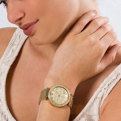 Michael Kors MK5354 - Orologio donna in acciaio color oro con cronografo dorato urban loop