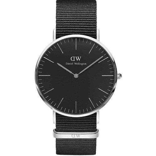 DANIEL WELLINGTON - Orologio Classic Black Cornwall Silver DW00100149 tessuto nero uomo donna urban loop