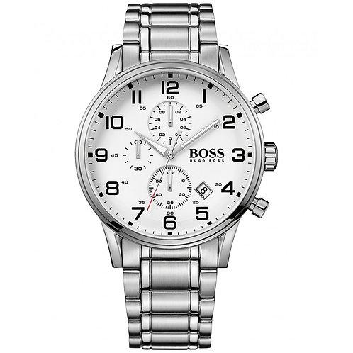 OROLOGIO UOMO HB1512445 HUGO BOSS - In acciaio, quadrante bianco orologi rotondi urban loop