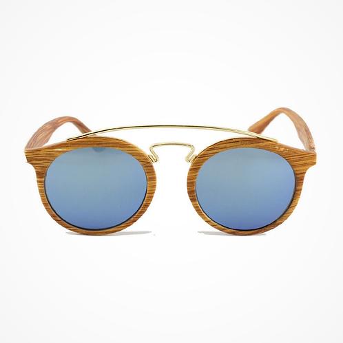 Occhiali da sole rotondi effetto legno +Colori