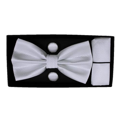 Coordinato uomo Papillon + Gemelli + Pochette - Bianco urban loop cerimonia elegante