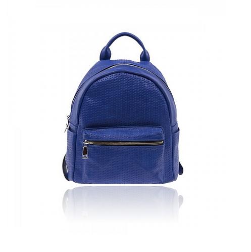 zaino zainetto ecopelle blu elettrico donna leather backpack borsa pelle similpelle accessori street style urban loop