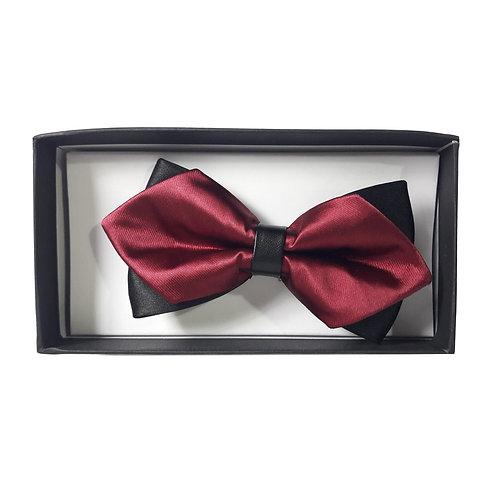 Papillon a punta di diamante pre-legato con scatola - Bordeaux/Nero