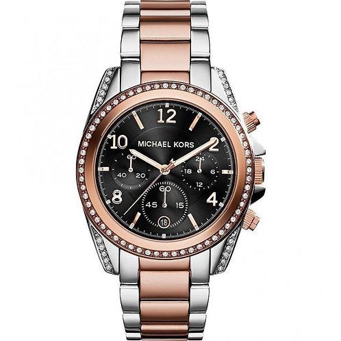 orologio donna michael kors acciaio argento rosa strass brillantini quadrante nero oroginale prezzi bassi lowcost urban loop