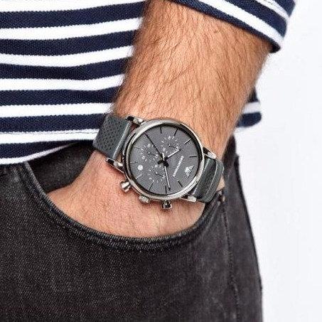 OROLOGIO AR1735 UOMO EMPORIO ARMANI - Con cinturino in pelle grigio traforato orologi urban loop