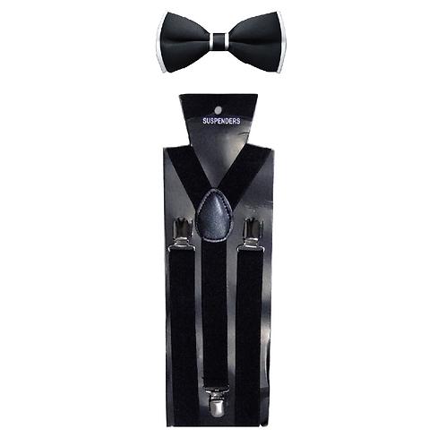set bretelle e papillon bianco nero cerimonia festa party hipster elegante suspenders cravattino farfalla urban loop
