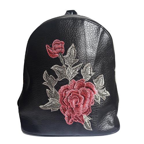 Zaino in simil pelle Patch Floreale - Nero zainetto borsa rosa fiori ricamato ricami ecopelle pelle zaini urban loop 2018