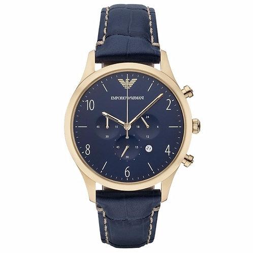 OROLOGIO AR1862 UOMO EMPORIO ARMANI - Con cinturino in pelle blu e cronografo orologi urban loop