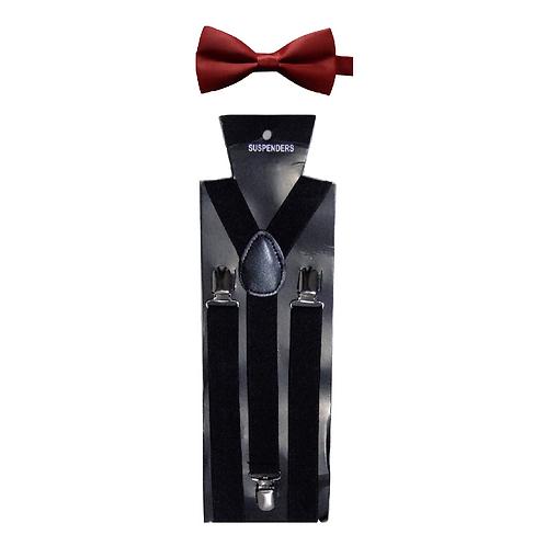 set bretelle e papillon rosso nero cerimonia festa party hipster elegante suspenders cravattino farfalla urban loop