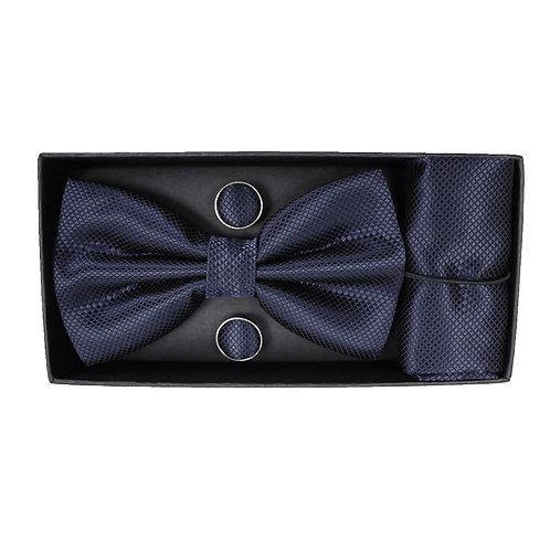 Coordinato uomo Papillon + Gemelli + Pochette - Blu cerimonia elegante fazzoletto uomo urban loop