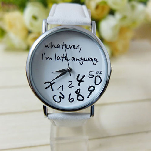 orologio uomo donna whatewer i'm late anyway numeri sparsi bianco design watch urbansc
