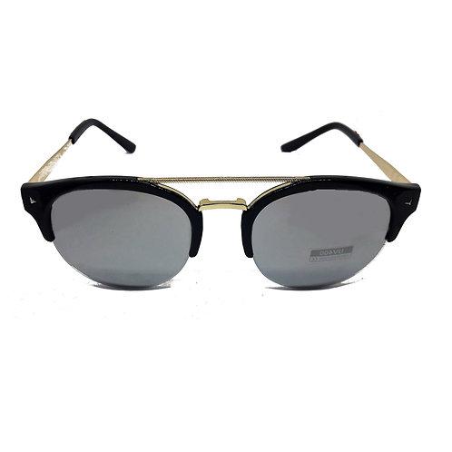 Occhiali da sole retrò con doppio ponte montatura nera lenti grigio specchio specchiate vintage sunglasses urban loop