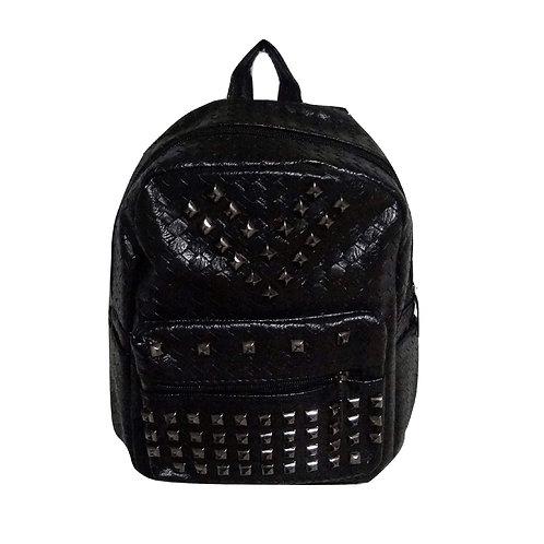 borsa zaino ecopelle borchie metallo zainetto backpack pelle leather nero urban loop
