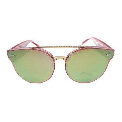 Occhiali da sole retrò CAT EYE con doppio ponte donna vintage specchio specchiati rosa 2018 urban loop