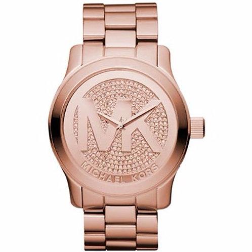 MICHAEL KORS MK5661 RUNWAY - Orologio donna in acciaio rosato con logo MK orologi urban loop