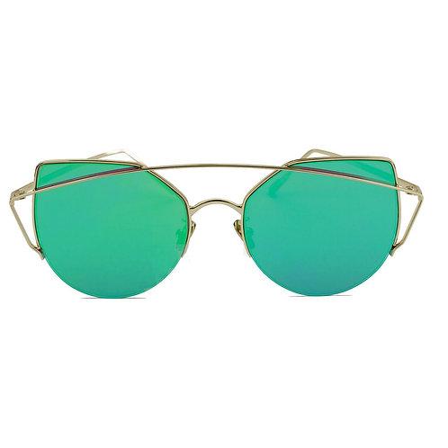 Occhiali da sole a occhi di gatto DIAMOND con ponte in metallo verde specchio donna urban loop