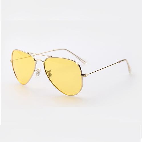 Occhiali da sole modello aviatore oro con lenti sfumate gialle giallo vintage anni 90 retrò uomo donna urban loop