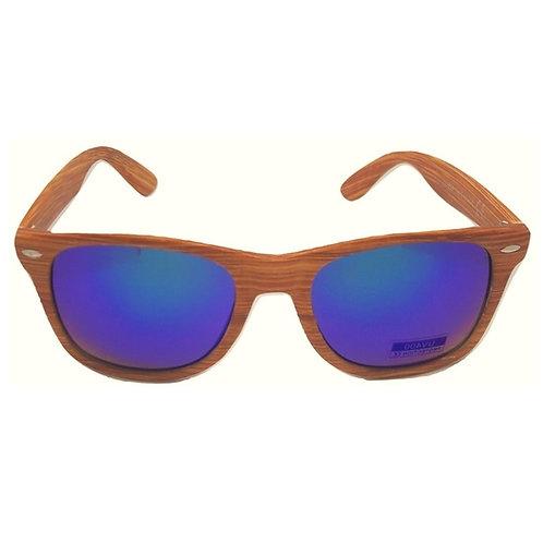 Occhiali da sole effetto legno stile wayfarer surf skate specchiati blu specchio wood sunglasses 2018 urban loop