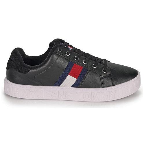 TOMMY JEANS - Cool Warm Lined Sneaker - Scarpe nere in pelle con logo bandiera