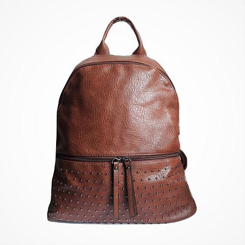 Zaino in simil pelle con zip frontale e borchie marrone cuoio perline perle zainetto pelle borsa urban loop