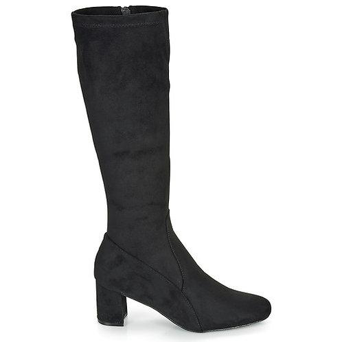 MOONY MOOD - Farette - Stivali con tacco in simil camoscio - Nero