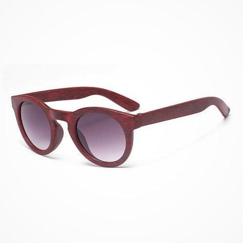 occhiali da sole effetto legno bordeaux rosso rotondi urban loop wood
