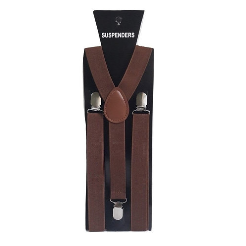 Bretelle slim - 2,5 cm - Marrone strette 3 clip ganci fermagli vintage retrò uomo urban loop