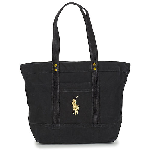 POLO RALPH LAUREN - Gold PP Canvas - Borsa shopping nera