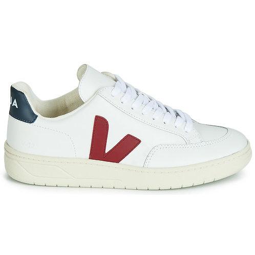 VEJA - Sneakers V-12 LEATHER - Bianco / Blu / Rosso