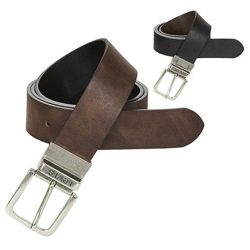 LEVI'S - Reversible Core - Cintura in pelle reversibile nero / marrone