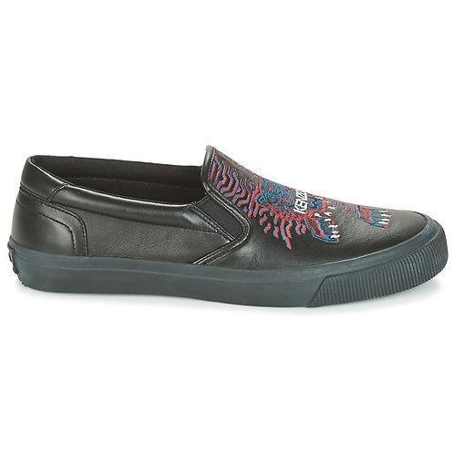 KENZO - Slip on VELVET in cuoio - Nero scarpe uomo sneakers trainer sportive pelle nere urban loop particolari