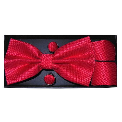 Coordinato uomo Papillon + Gemelli + Pochette - Rosso set cerimonia uomo elegante matrimonio raso urban loop