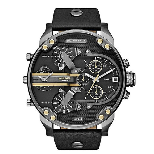 Orologio Uomo Diesel DZ7348 Mr Daddy 2.0 - Pelle e Quadrante Nero/Oro quarzo cronografo urbansc watch polso